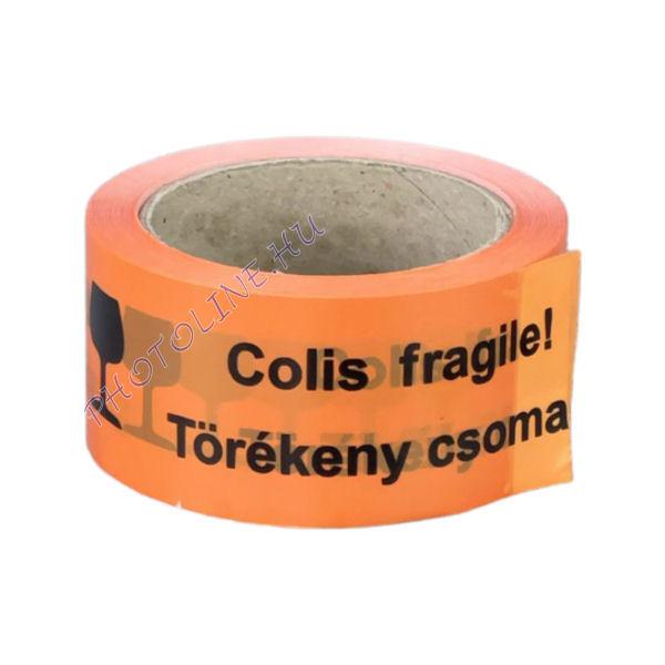 Tapadószalag narancssárga, 50mmx66M, TÖRÉKENY CSOMAG / FRAGILE