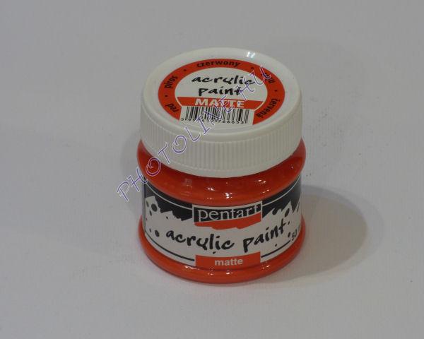 Akrilfesték matt, 50 ml, piros