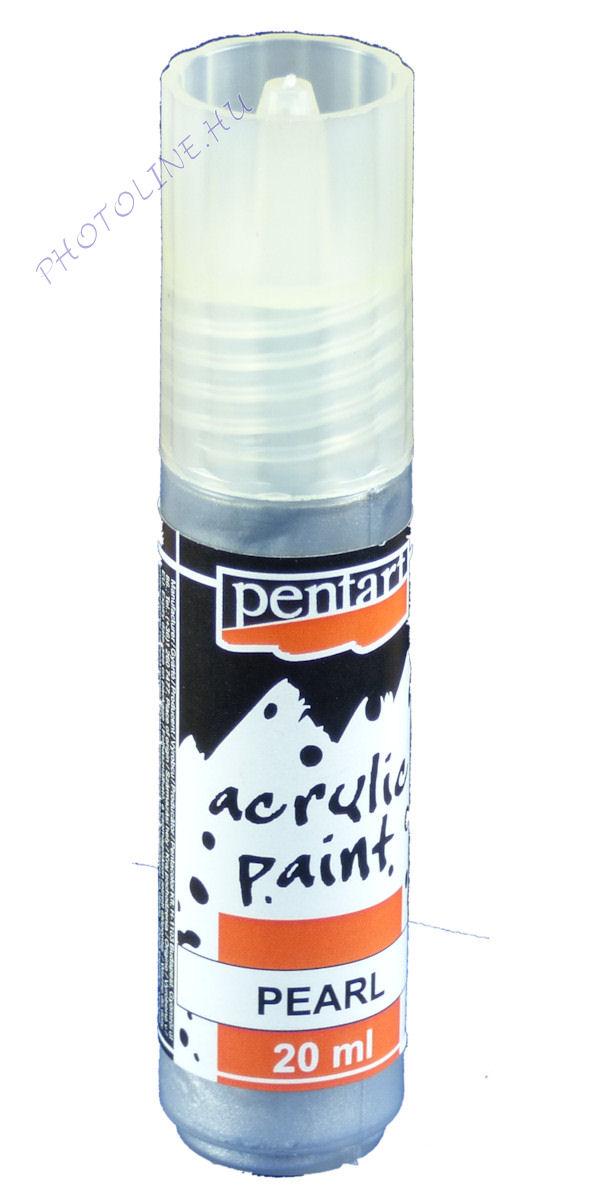 Gyöngyház akril festék 20 ml, ezüst