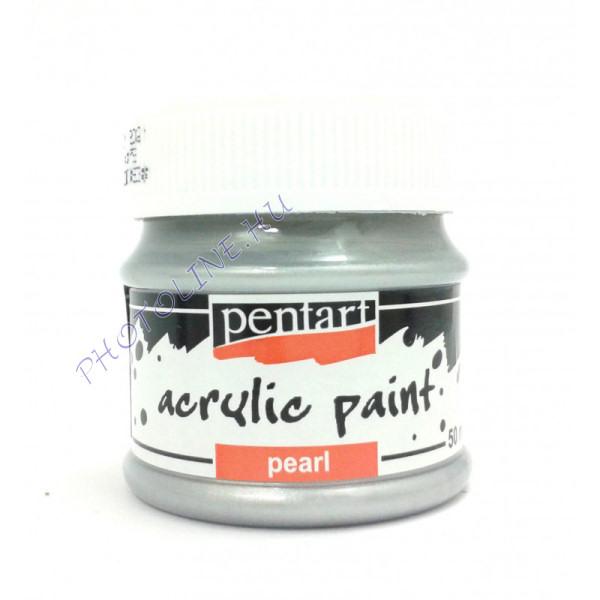 Gyöngyház akril festék 50 ml, ezüst