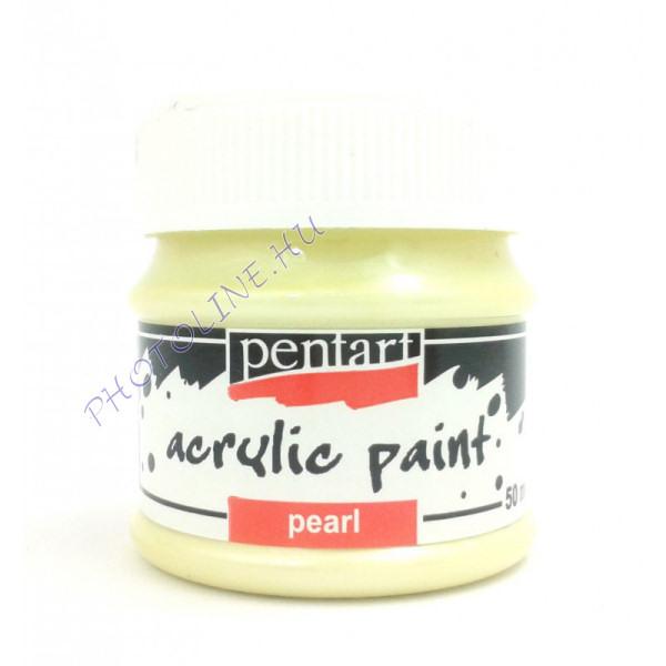 Gyöngyház akril festék 50 ml, sárga