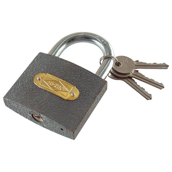 Vas lakat, 50 mm, 3 kulcs, DOBOZBA CSOMAGOLT (77030)
