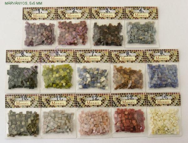 Mozaik csomagok MÁRVÁNYOS, 5x5 MM, 13. világos vörös