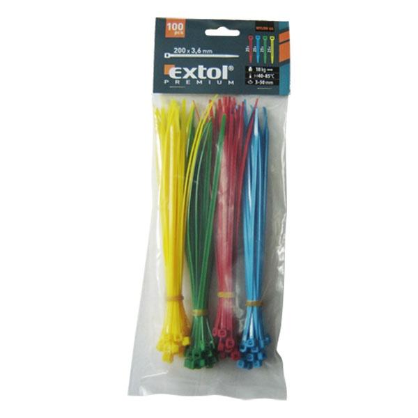 Gyorskötöző, kábelkötegelő színes, 3.6 x 200 mm, 100 db (8856196)