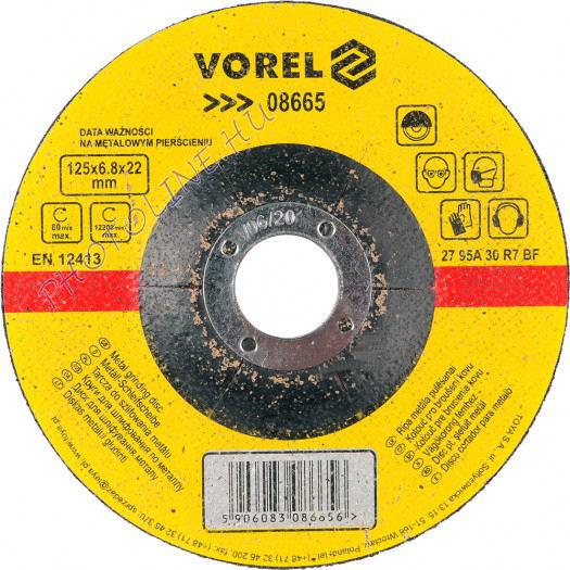 Csiszolókorong acélhoz, 125 x 6,0 x 22,2 mm