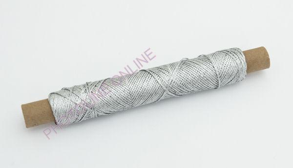 Kötöző zsinór dísz, 1,25 mm, ezüst szín, fémszálas