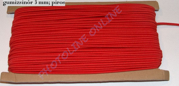 Gumizsinór, 3 mm, 50m/tekercs, PIROS