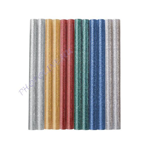 Ragasztórúd 12db, vegyes csillogó színek, 100×7 mm