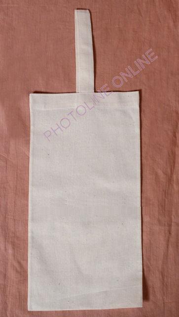 Vászon boros/pálinkás tartó, 17x34 cm, füllel