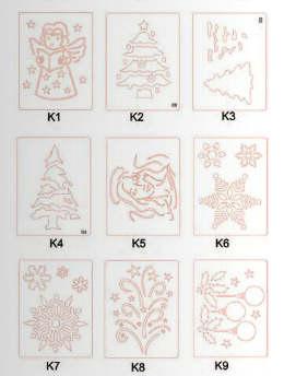 Dekorációs Sablon - airbrush, festéshez, téli motívumok, K4