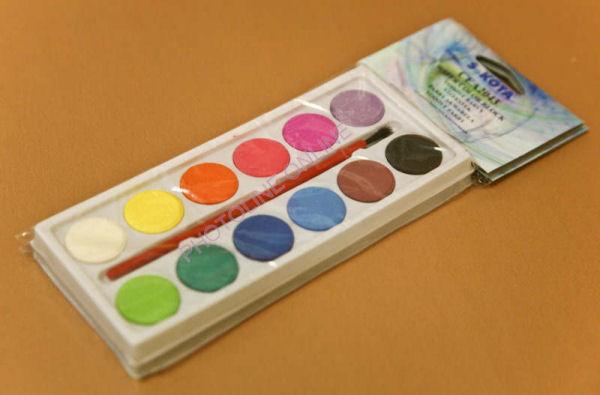 Vízfesték nagygombos 12 színű