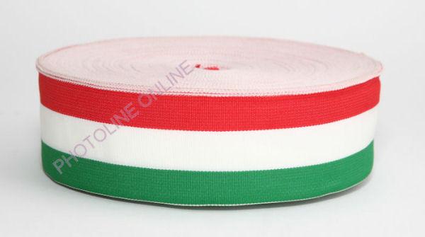 Trikolor nemzeti színű szalag piros-fehér-zöld 50 mm, méterre