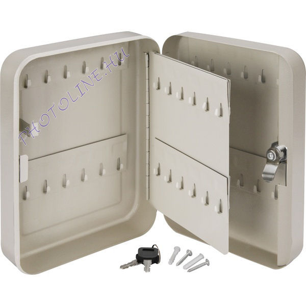Kulcstartó szekrény zárható, szerelékkel, fém, 48 hely (25cm)