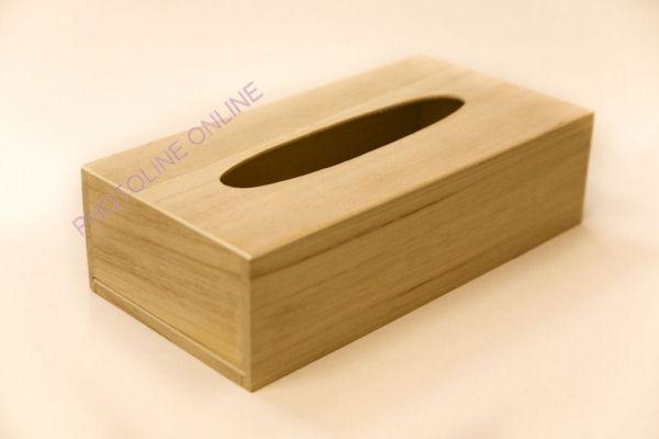Papírzsebkendőtartó PZS tartó natúr fa, elhúzható talppal