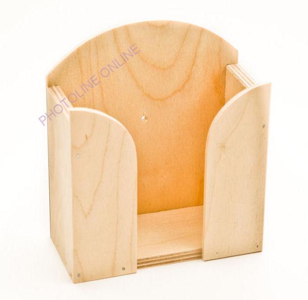 Papírzsebkendő tartó PZS tartó natúr fa, 14 cm