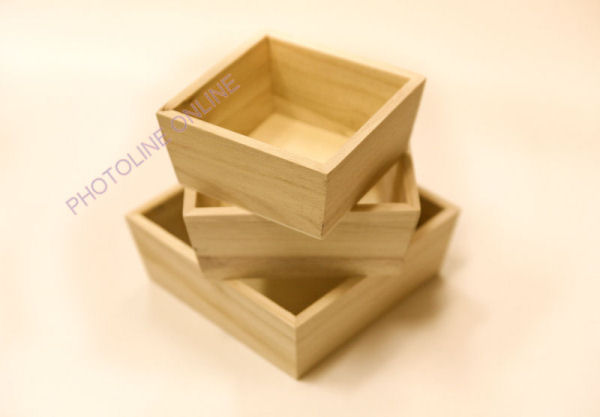 Kínáló 3 db-os szett, fa, 15 x 15 x 5,5 cm