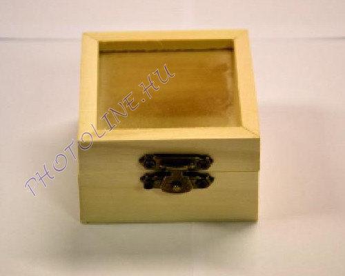 Mini fa doboz, üvegbetétes négyzet