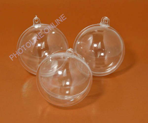 Átlátszó akril gömb, 2 részre szedhető, 8 cm