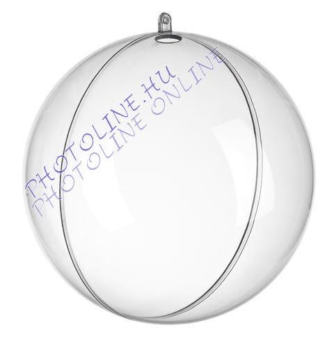 Átlátszó akril gömb, 2 részre szedhető, 7 cm