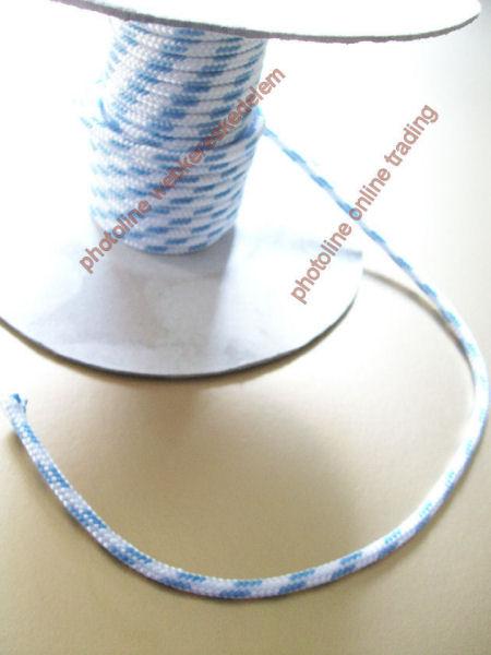 PP fonatolt kötél, 4 mm, 300+kg fehér, jelölőszínnel