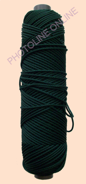 Kötöző zsinór, 3 mm erős, sötétzöld szín