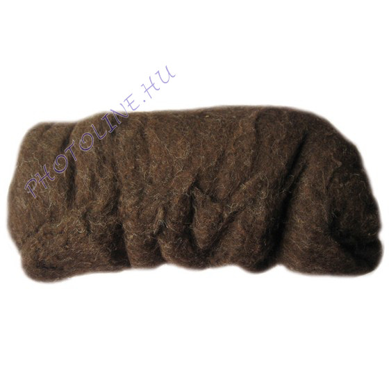 Előkészített kártolt gyapjú, barna kb. 0,1 kg/cs