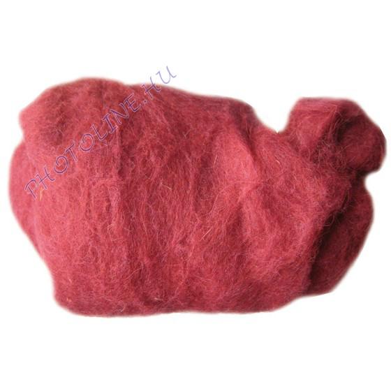 Előkészített kártolt gyapjú, bordó kb. 0,1 kg/cs