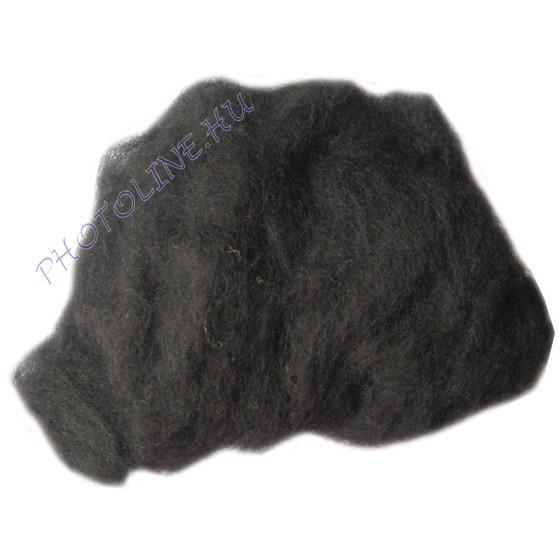 Előkészített kártolt gyapjú, fekete kb. 0,1 kg/cs