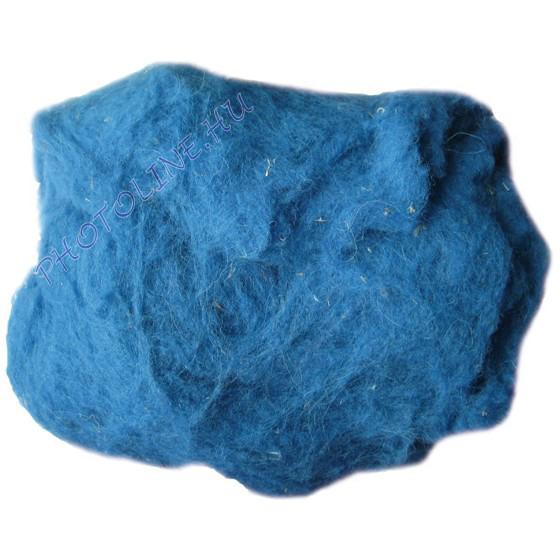 Előkészített kártolt gyapjú, kék kb. 0,1 kg/cs