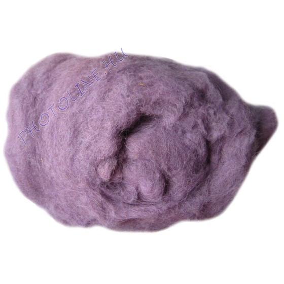 Előkészített kártolt gyapjú, lila kb. 0,1 kg/cs