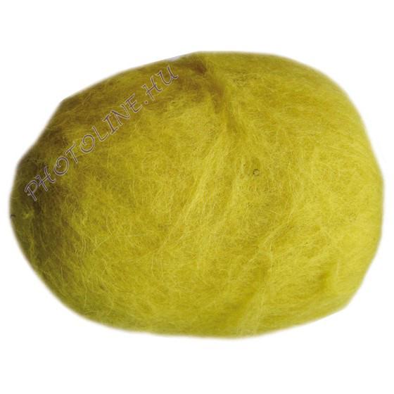 Előkészített kártolt gyapjú, sárga kb. 0,1 kg/cs