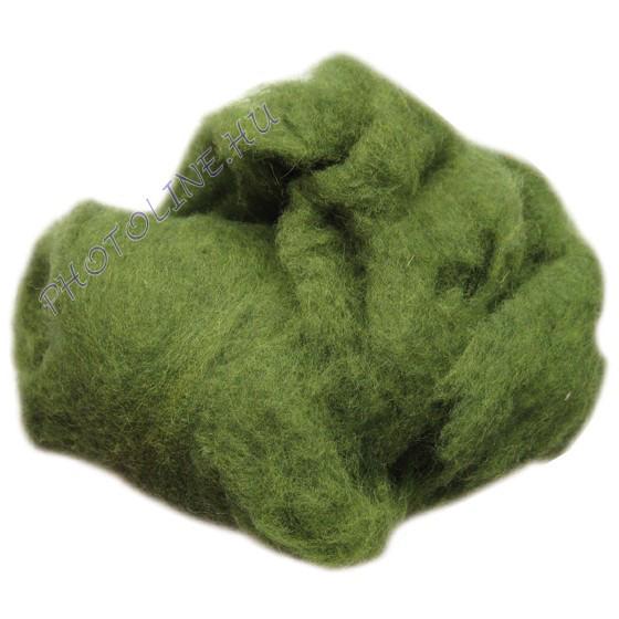 Előkészített kártolt gyapjú, zöld kb. 0,1 kg/cs