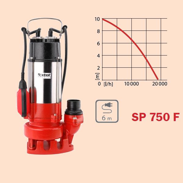 Szennyvíz szivattyú úszókapcsolóval, 750W (8895001)