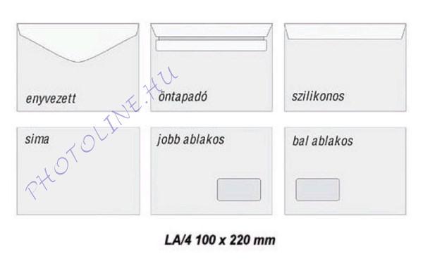 LA/4 kis méretű postai boríték, öntapadós, fehér