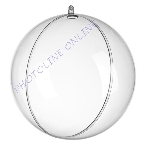 Átlátszó akril gömb, 2 részes, 12 cm