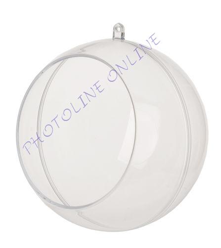 Átlátszó akril gömb, 2 részes, nyílással, 12 cm