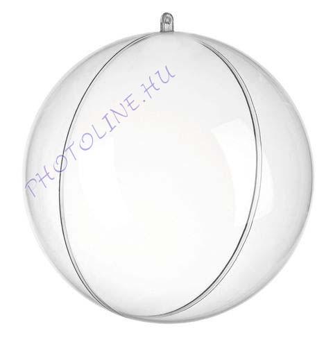 Átlátszó akril gömb, 2 részes, 18 cm