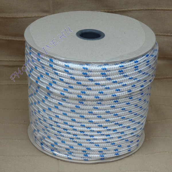 PP fonatolt kötél, 10 mm, fehér, 1100+ kg, jelölőszínnel