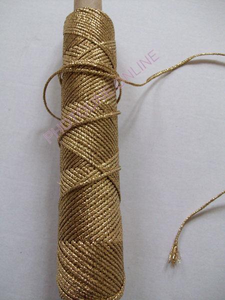 Kötöző zsinór dísz, 4,0 mm, arany szín, fémszálas
