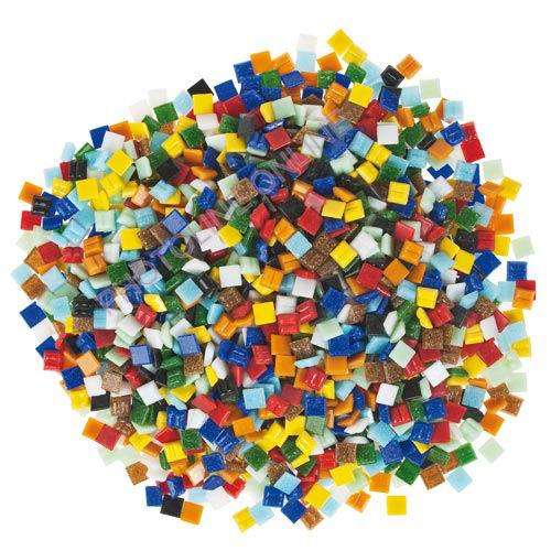 Mozaik csomagok, üvegmozaik 10x10mm, vegyes-színes