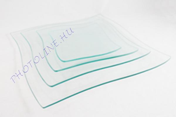 Hullámos szélű tál, üveg, 25x25CM