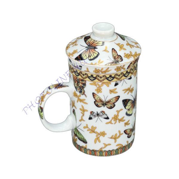 Pillangós porcelán bögre, teafű szűrős porcelán betéttel