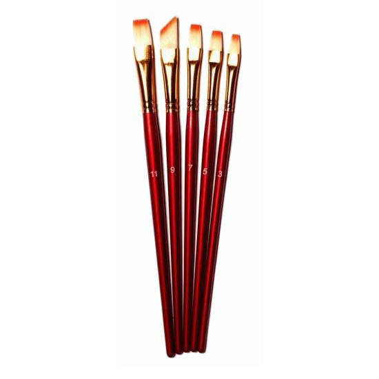 Dekopázs Művészecset 6 db-os nikkellel bevont, piros, méret: 1-3-5-7-9-11