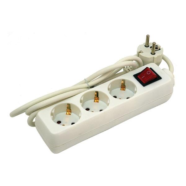 Villamos elosztó, kapcsolóval, 3 aljzat, 1,5m kábel, földelt, 250V/16A, max 3500W