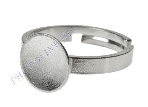 Ékszer gyűrű alap 15mm díszes karimával, ezüstszínű