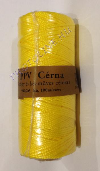 PPV kézműves és ékszerkészítő cérna, 100m, sárga
