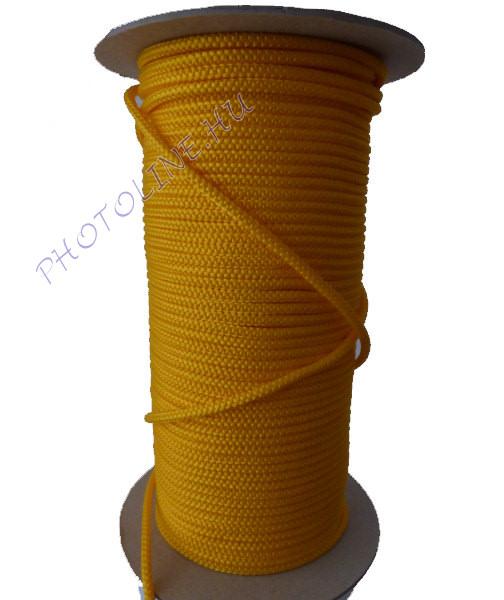 Kötött PP kötél, 5 mm, sárga