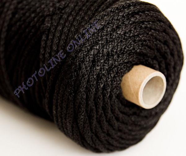 Kötött PP kötél, 6 mm, fekete