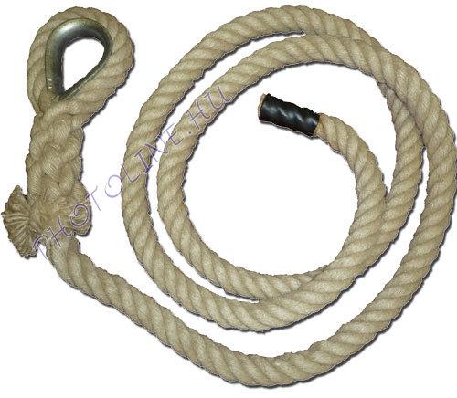 Mászókötél, 4 m, kötélszívvel, akasztóval, végzáróval