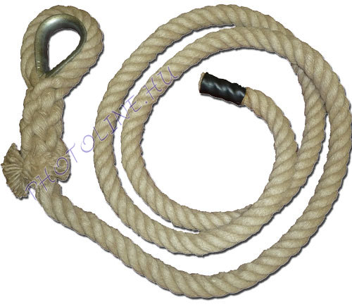 Mászókötél, 7 m, kötélszívvel, akasztóval, végzáróval